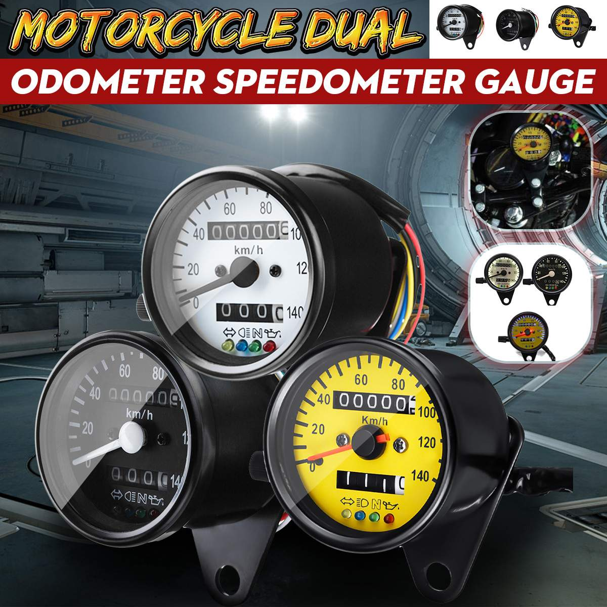 Universal motocicleta retroiluminación LED doble odómetro KM/H medidor de velocímetro Retro Vintage tacómetro
