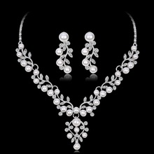 Wedding Jewelry Sets Crystal Tree Leaves Bridal Jewelry Set For Women Choker Necklace Earring Imitation Pearl Wedding Decoration gorgeous crystal bridal jewelry sets wedding necklace earring set for brides party accessories rhinestones decoration gift women