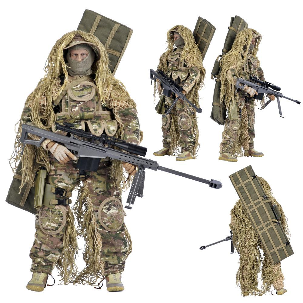1/6 12-inch Plastic Simulation Doll Plastic Collection Level Multi-accessory Sniper With Barrett Military Model Soldiers