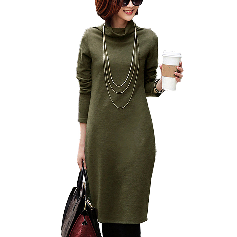 2017 Newest Elegant Large Size 4XL Autumn Dress Women S Velvet Thicken Winter Turtleneck Dresses Long