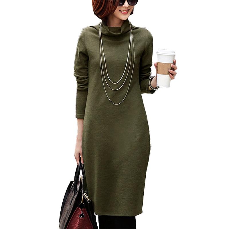2017 newest elegant large size 4XL autumn dress womens velvet thicken winter turtleneck dresses long sleeve warm sweater dress