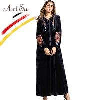 ArtSu Tassel Tie V Neck Long Sleeve Winter Dress Women Vintage Floral Embroidery Velvet Maxi Dress