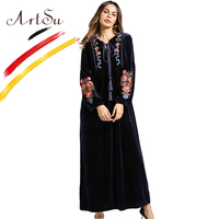 ArtSu Tassel Tie V Neck Long Sleeve Winter Dress Women Vintage Floral Embroidery Velvet Maxi Dress