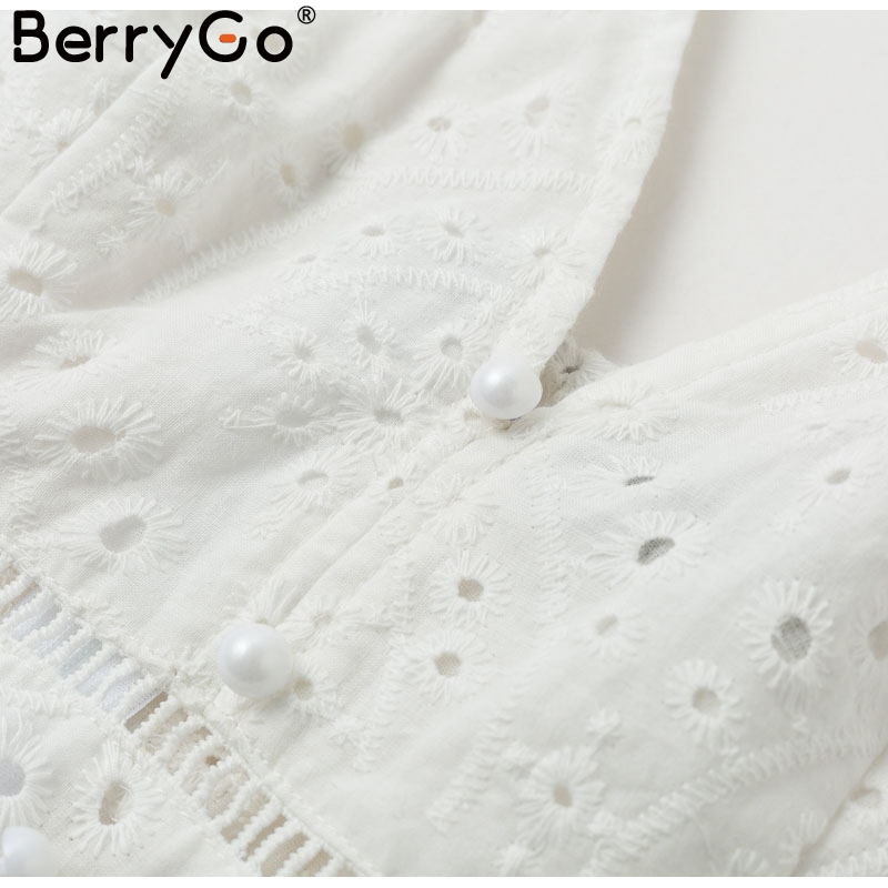 BerryGo White pearls sexy women summer dress 19 Hollow out embroidery maxi cotton dresses Evening party long ladies vestidos 13