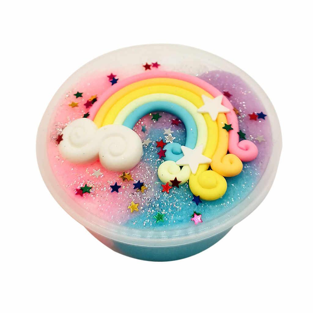 Красивая Радуга пушистый Floam слизи грязь смешивание облако слизи шпатлевка душистый стресс дети антистресс шпатлевка глина игрушка дропшиппинг