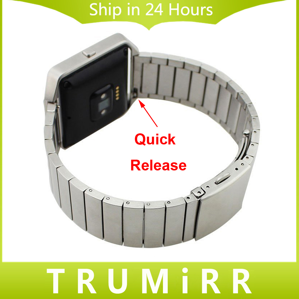 Stainless Steel Watchband 23mm for Fitbit Blaze Smart Fitness Watch Band Link Strap Buckle Bracelet + Quick Release Pins + Tool crested stainless steel watch band for fitbit charge 2 bracelet smart watch strap for fitbit charge2 with connector