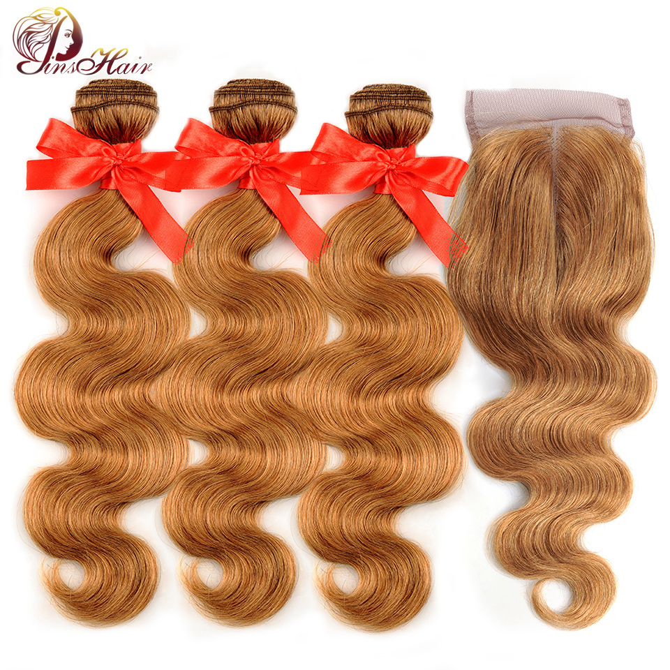 Blonde 27 Brazilian Hair Body Wave Bundles With Closure Pinshair Human Hair Weave 3 Bundles With Lace Closure Nonremy Thick Hair