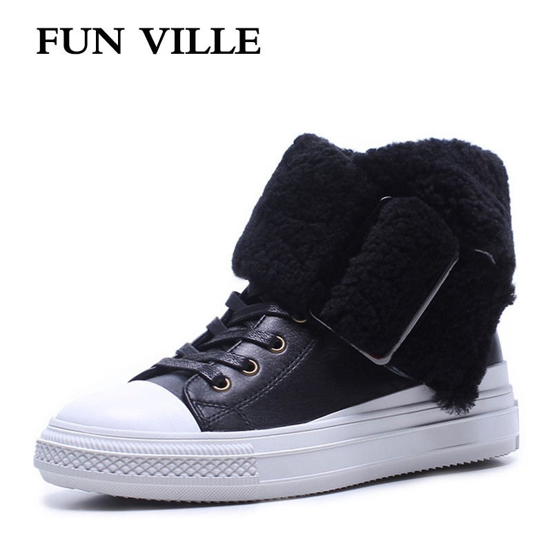 FUN VILLE New Fashion Woman snow boots black golden silver Real Fur Wool Ankle boots warm Winter Shoes for Women size 34-40 fashion woman s striped beanies hat 2016 new autumn winter knitted warm wool casual girl cap for woman skullies chapeu feminino