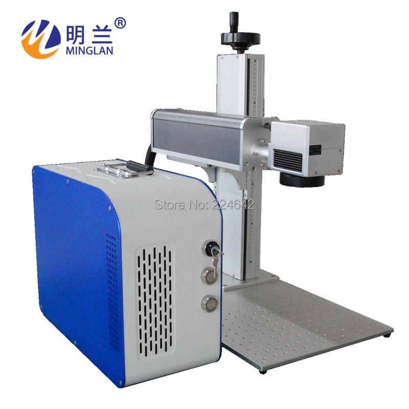 20W fiber laser marking machine on metal/ Minglan with CE FDA CO/ 20W fiber laser engraving machine with rotary/ By Air Sea DHL - 2