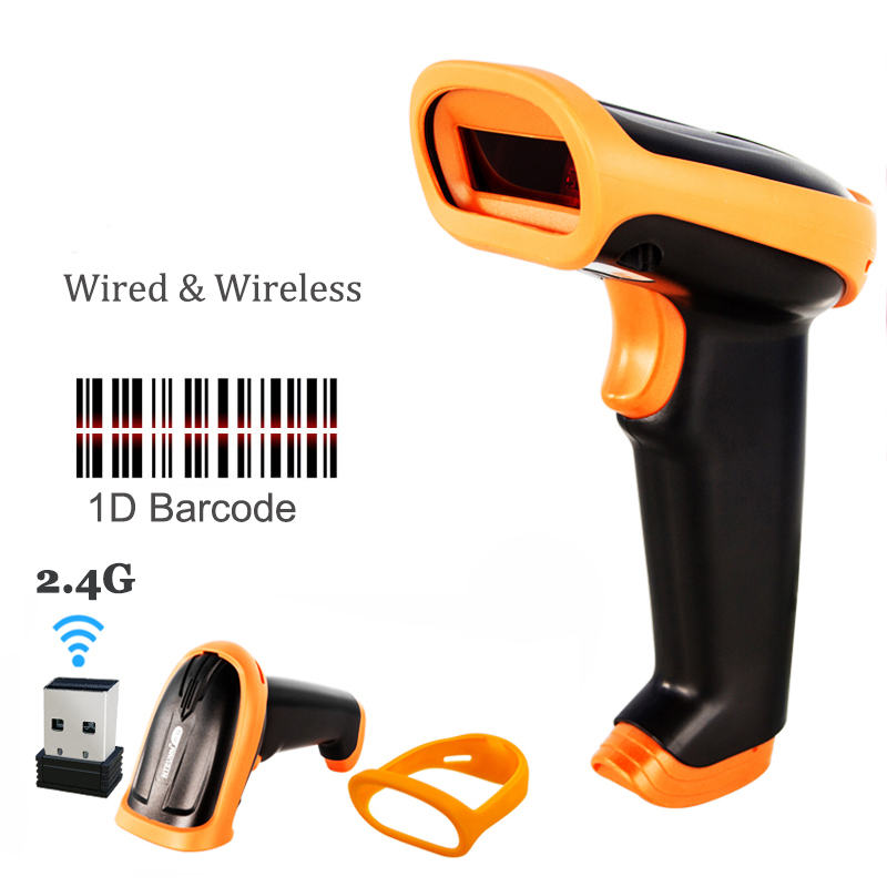 Wireless Barcode Scanner 2.4G 30m Laser Bar Code Reader Wireless/wired For Pos and Inventory HW-S2 new hot new 2 4g wireless laser barcode scanner rechargeable cordless bar code reader for pos inventory bp 618 q99 88