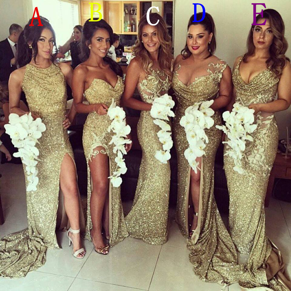 Sparkly Gold Sequin   Bridesmaid     Dress   Mermaid   Bridesmaid     Dresses   2016 Split Skirt Robe Demoiselle D'honneur 5 Styles For Choice