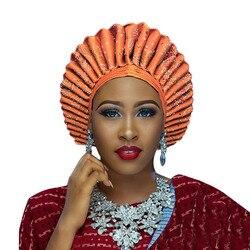 Afrikaanse Headtie Aso Ebi Gele Voor Vrouwen Aso Oke Headtie Gele Met Steen In Vele Kleuren