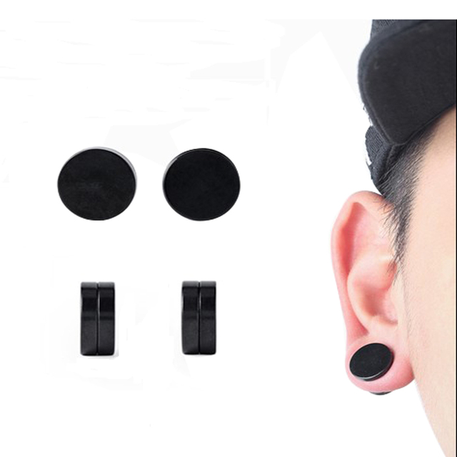 Uvw0122 2pc Clic Trendy Black Magnet Earrings Fake Ear Studs Stainless Steel Tunnel Plug