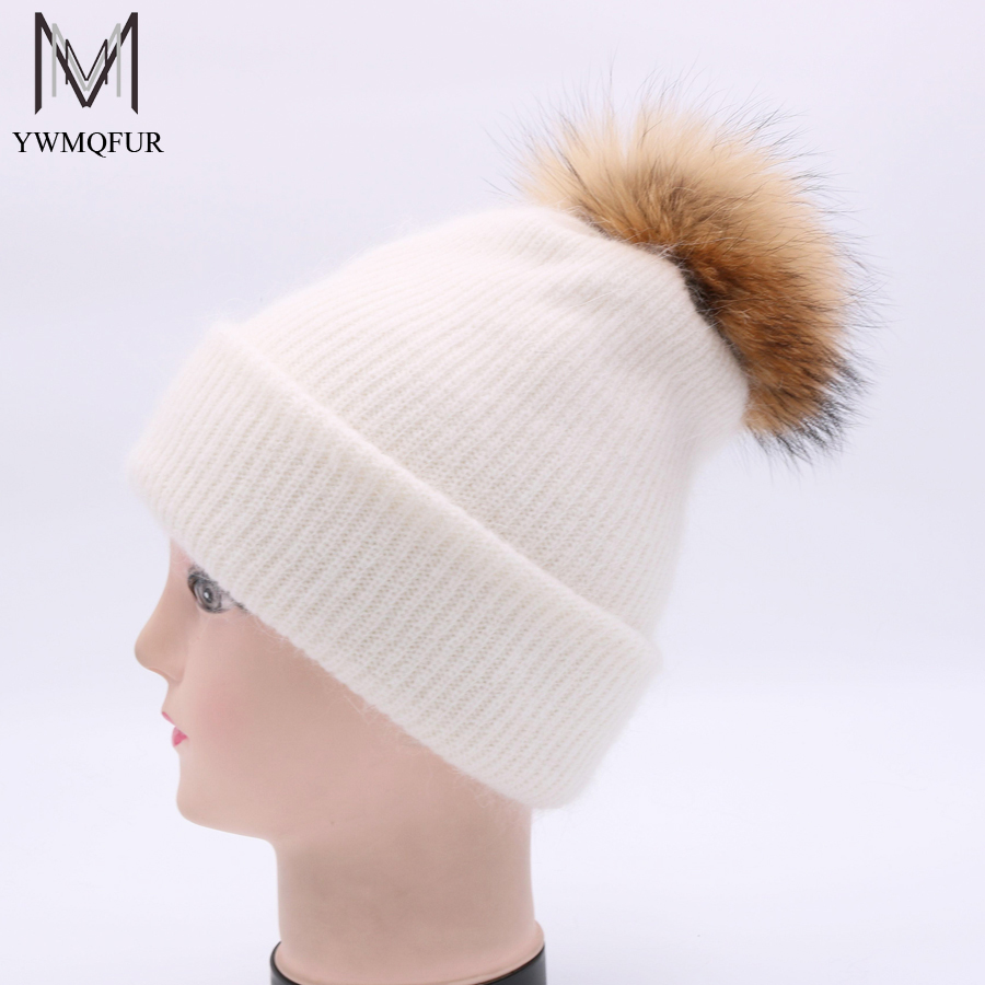 YWMQFUR Women Winter Hat Real Raccoon Fur Ball Pom Poms Girl 'S Hats Wool Knitted Beanies Cap Gorros Cap Female Causal Hat H88 unisex illest letter hat gorros bonnets winter cap skulies beanie female hiphop knitted hat toucas outdoor wool men pom ball