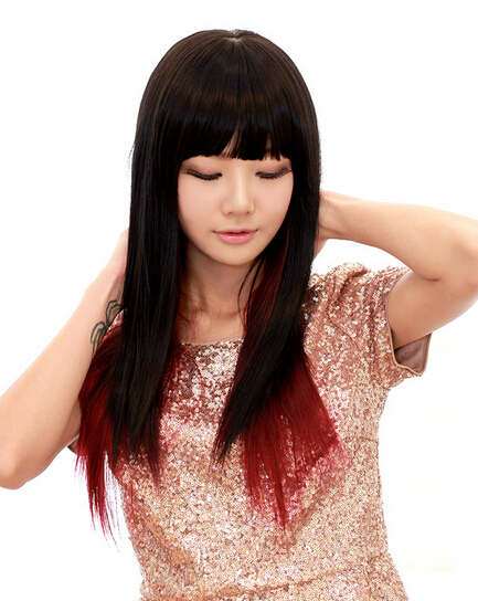 shave long straight hair gradient wine red female american cosplay