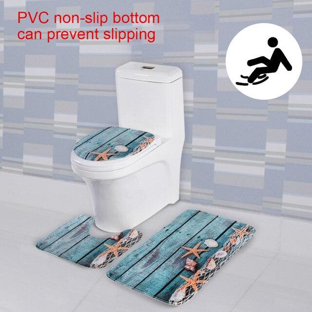3 pz/set bagno tappeto Oceano Modello Anti Slip da Bagno Zerbino Set di Corallo del panno morbido del Pavimento Da Bagno Zerbino s Lavabile Bagno Wc tappeti