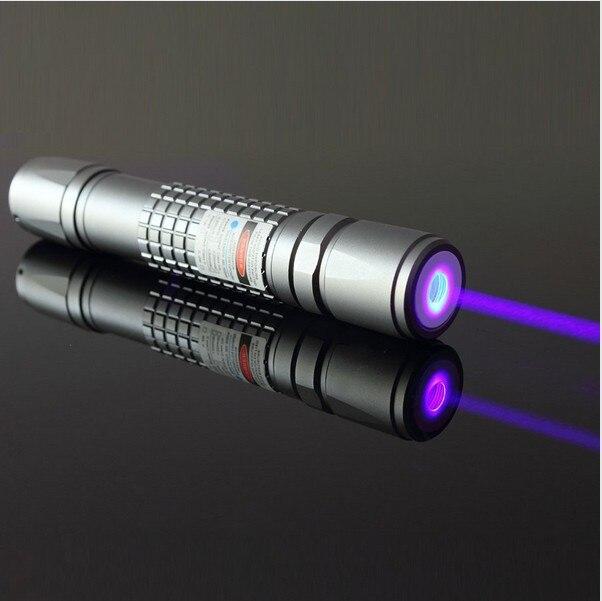 Güçlü Askeri 405nm LED el feneri Menekşe mavi Lazer işaretçi/UV Mor Lazer Meşale Yanık Maçları, Yanık Sahte Dedektör