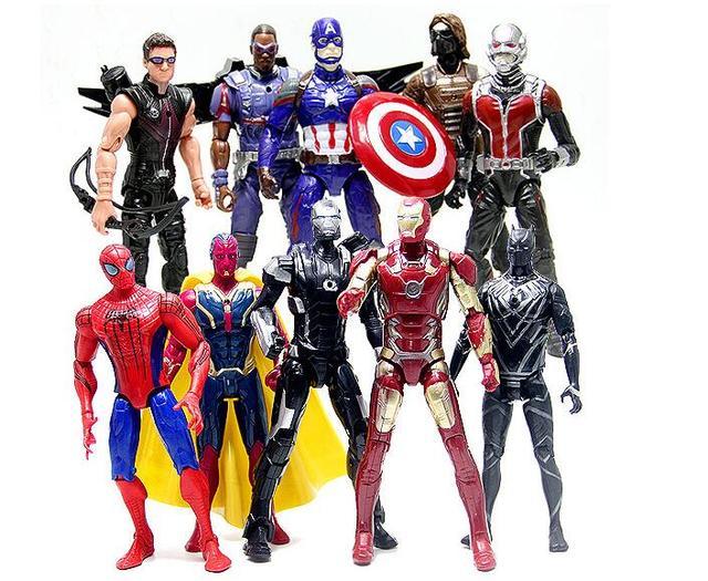 10 pcs lote captain america 3 guerre civile personnage de dessin anim iron man ant man - Iron man en dessin anime ...