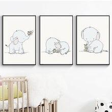 Милый мультяшный слон и кролик холст художественная живопись