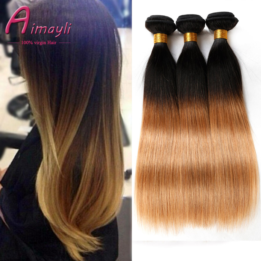 Ombre Malaysian Virgin Hair Straight 3Bundles 1B 27 Ombre Human Hair Extensions Honey Blonde Two Tone
