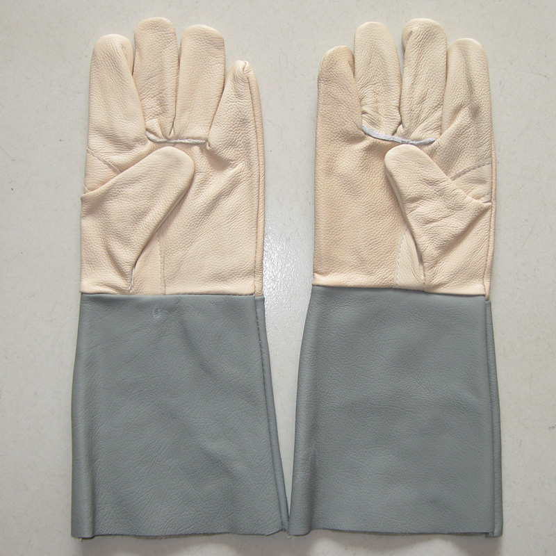 Darmowa wysyłka 2 pary 38 cm Wydłużyć spawanie rękawice ochronne pełne skórzane dłonie odporne na zużycie rękawice ochronne długie rękawice robocze mankiet