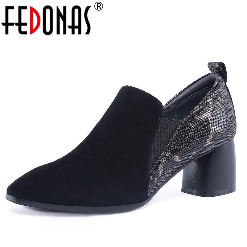 FEDONAS 1New Women Basic Pumps Autumn Winter Warm Genuine Leather High Heels Shoes Woman Square Toe