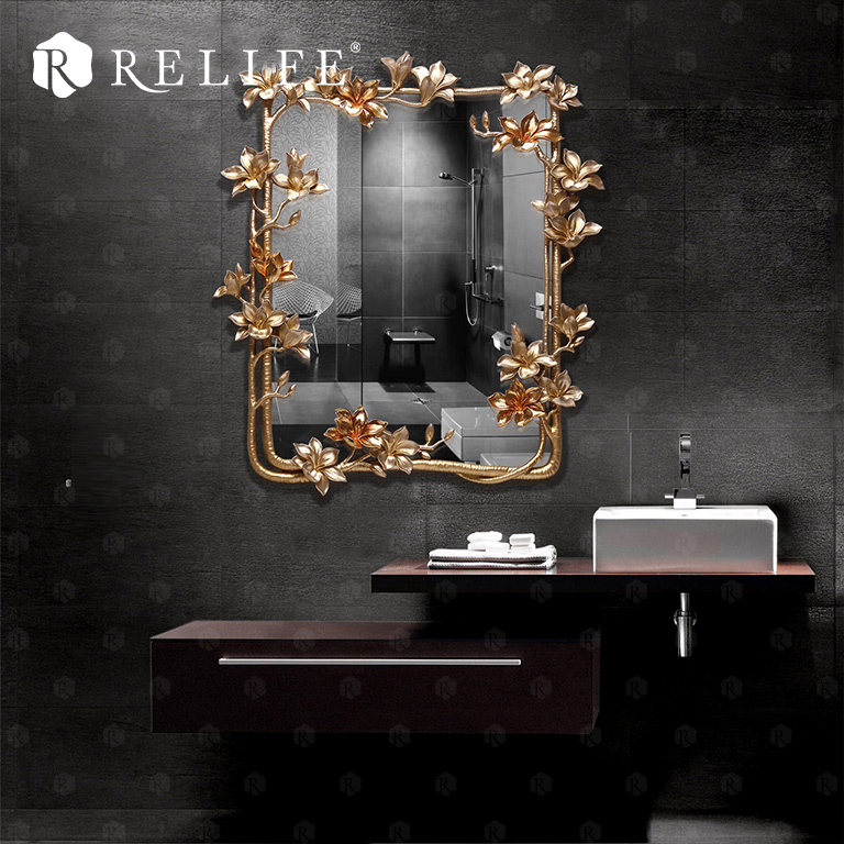 New Magnolia Rectangle Wall Mirror Home Decor Cermin kreatif untuk - Hiasan rumah - Foto 3
