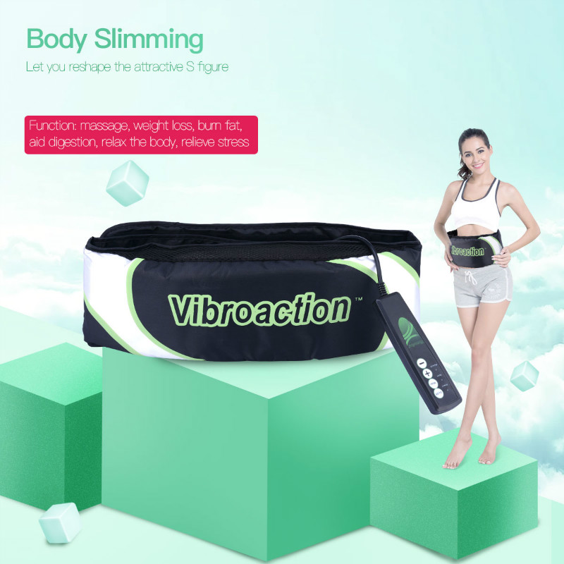 Vibroaction Massager Electronic Body Muscle Waist Slimming Massage Slim Belt Fat Burning Weight Loss Exercise Toning Belt S36 elastic thin slimming belt magic waist abdomen massage belt black