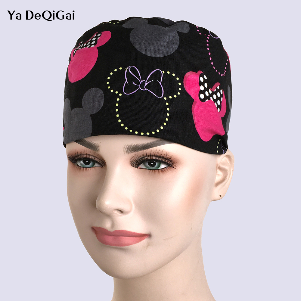 Unisex Doctor Nurse Surgery Caps Operating Room Hat Female Beauty Cotton Printing Cap Print Kitty Dentist 2019 New Surgery Hats