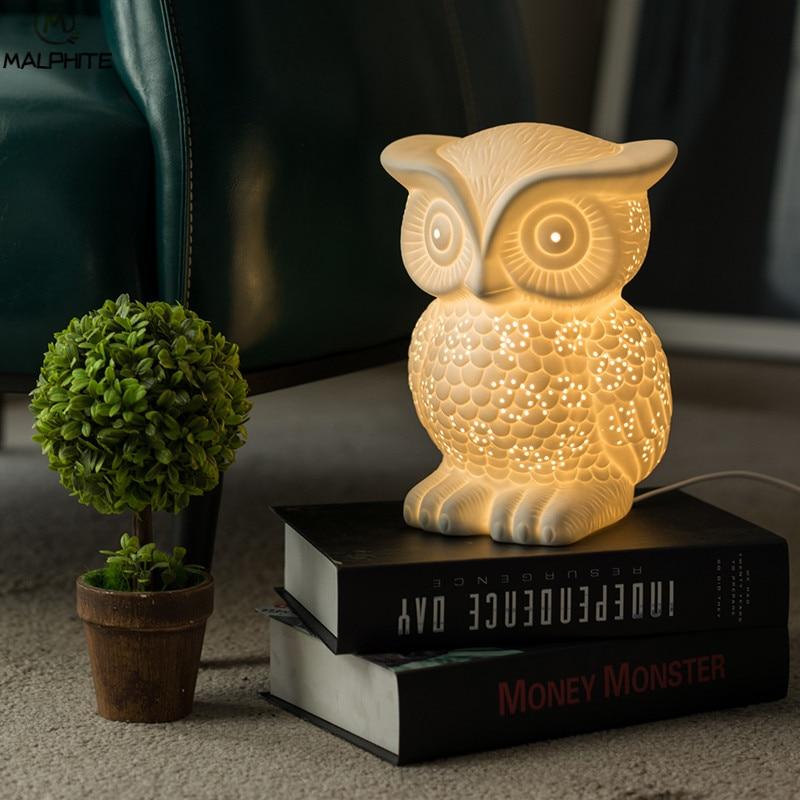 Новинка белая керамическая сова ночник Луна лампа для спальни прикроватная лампа для гостиной детский подарок мультяшный Ночник светильни... - 6