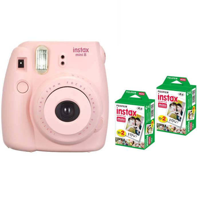 Prix pour Fujifilm Instax Mini 8 Instant Impression Numérique Caméra Avec 40 Feuilles Twin Pack Fuji Film Photo Papier pour Mini 7 s 25 50 s 90