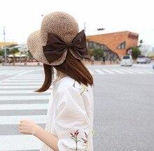 Fashion Elegant Bow Bracket Hooded Hoodie Sunny Hat Foldable Wide Large  Brim Beach Sun Caps Floppy e9bdb049296c