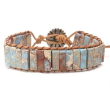 Hot! 2pcs/lots Natural Unique Map Stone Men Beaded Bracelet Stainless Steel Bracelets Mens fashion accessories