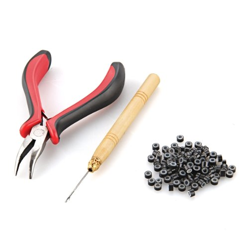 Hot sale in stock Hair Extension Plier Hook Tool Kit + Micro Link Beads