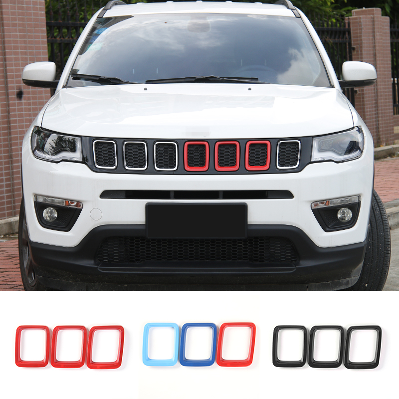 Black Grill Inserts Grille Cover Frame Trims Kit for Jeep Compass 2017 2018 2019