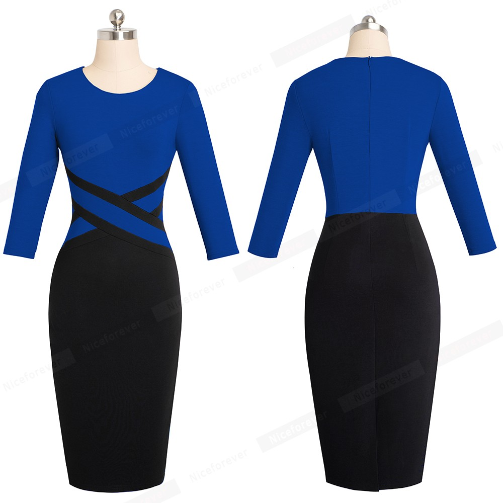 Nice-forever Vintage Elegant Contrast Color Patchwork Wear to Work vestidos Business Party Office Women Bodycon Dress B463 27