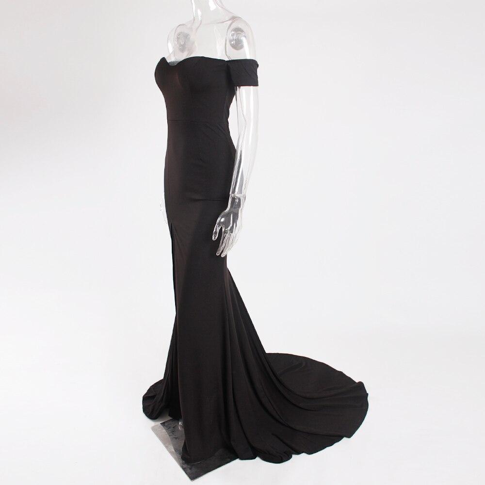 Long Train Black Off Shoulder Leg Split Front Evening Gown Dress Slash Neck Prom Dress Padded Stretch Floor Length Dress in Evening Dresses from Weddings Events