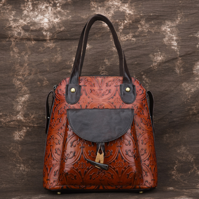 High Quality Genuine Leather Women Backpack Embossed Knapsack Shoulder Bag Retro Daypack Book Bags Natural Skin