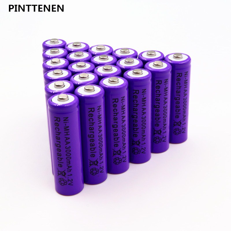 PINTTENEN Original AA Battery Batteries 1.2V AA 3000mAh Ni-MH Rechargeable Battery Pre-Charged nimh Baterias for Camer Razor