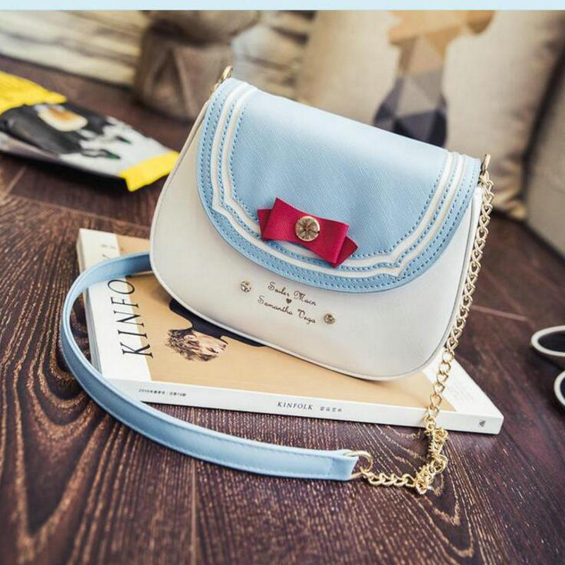 New 2017 Ladies Sailor Moon Bag Candy Color Chain Shoulder Bag PU Leather Cute Bow Handbag Women Messenger Small Crossbody Bag fashion rivet diamonds candy color pu leather female chain shoulder bag handbag purse ladies crossbody mini messenger bag flap