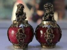 Tibet Silver Red Jade Dragon Phoenix Ball Foo Fu Dog Guardion Lion Pair Statue 2pcs Garden Decoration 100% real Brass Bronze