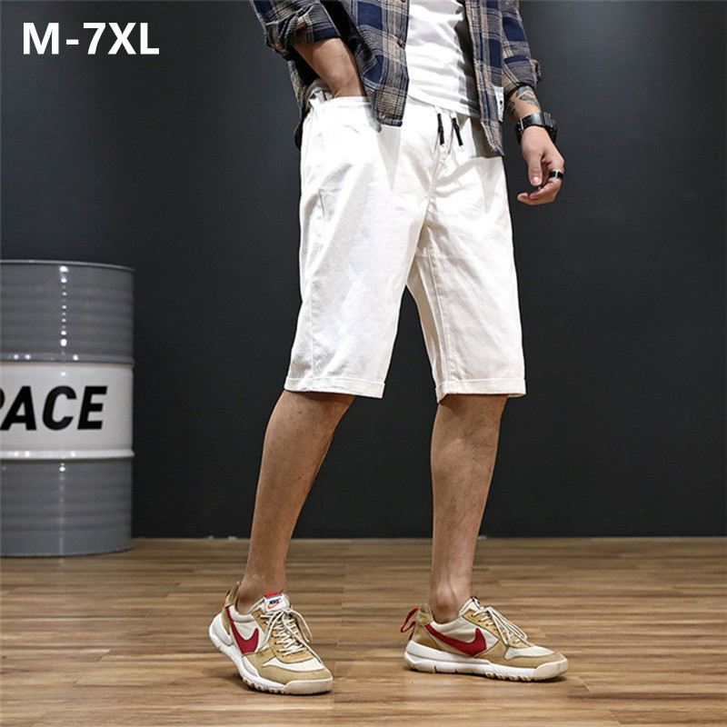 Mens Shorts Streetwear Masculino Pantalones Hombre Men Bermudas Cotton White Black Khaki Blue Summer Short Plus Size 5XL 6XL 7XL