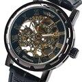 Relogio Masculino Mechanical Wrist Watches for Men Business Classic Skeleton Hand Winding Watch Fashion Modern Full Black Clock