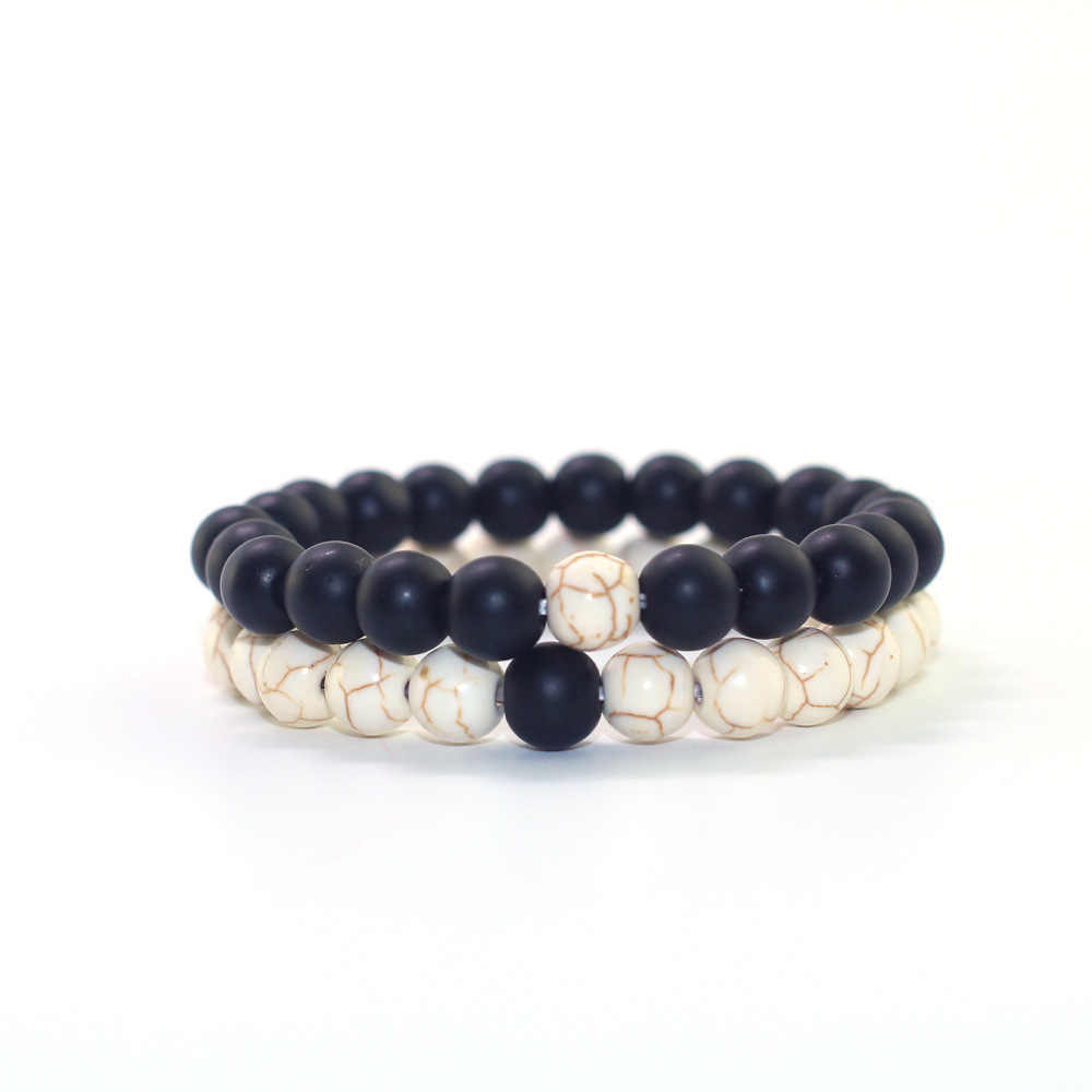 2019 Natural Stone Black Matte White Pine Handmade 8mm Stone Beaded Bracelet Men Women Fashion Jewelry Couple Elastic Bracelets