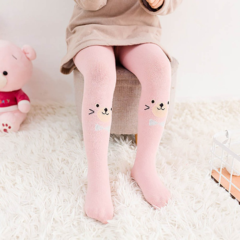 Children Pantyhose Cute Baby Girl Autumn Cartoon Tights Knitted Girls Stockings Kids Girl Tights