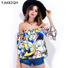 Womens Shirt Blouses Off Shoulder Top Blouse Shirt Blusas Print Plus Size Women Clothing Sexy Korean
