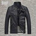 Chaqueta abrigos de cuero negro genuino 100% piel de vaca real chaquetas cuero de la motocicleta más tamaño manteau homme veste cuir homme LT307