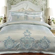 Свадебное постельное белье набор королевский размер 4шт tencel хлопок жаккард сатин одеяло обложка вышивка постельное белье принцесса романтическое постельное белье