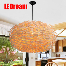 LEDream man-made Lamp Creative Wood pendant Lights 220v E27 Nest Bird Cage Lamp With Incandescent Bulbs For Light Home