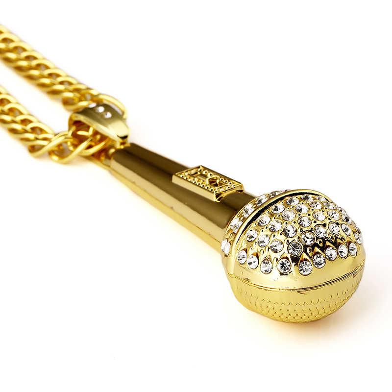 Золотая музыка стереоскопический микрофон ожерелья мужские и женские голоса американские цепочки роскошные подарочные украшения хрустальные подвески